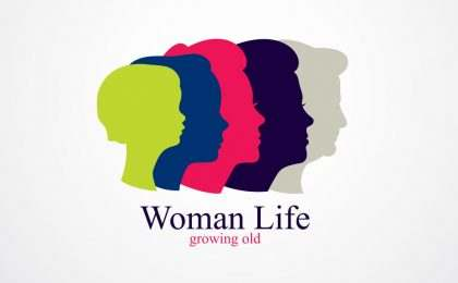 Woman life age years concept, the time of life, periods and cycl