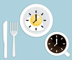 breakfast time fried egg and coffee with clock