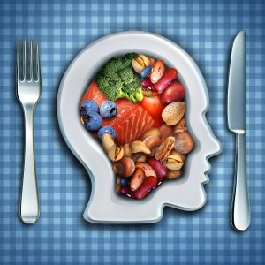 Brain made of food on plate