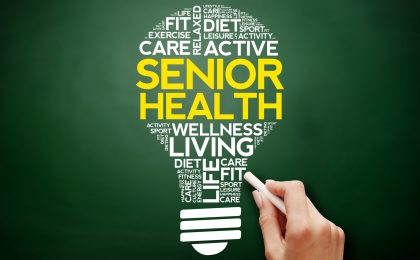 Senior health bulb word cloud
